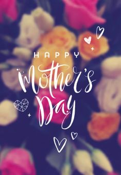 Happy Mothers Day - Blue Background Folded Worded Card