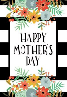 Happy Mothers Day - Black Stripe Folded Worded Card