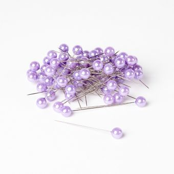 Rounded Headed Pearl Pins - Lilac - 65mm x 10mm