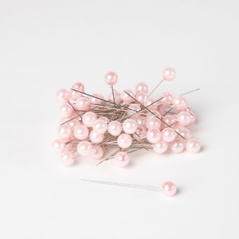 Round Headed Pearl Pns - Pale Pink - 65mmx 10mm
