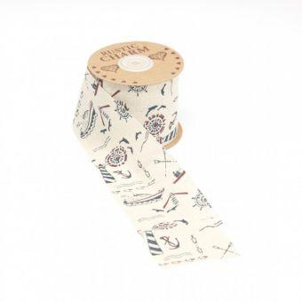 Cotton Seafarer Print Ribbon