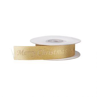 Merry Christmas Ribbon - Gold Font