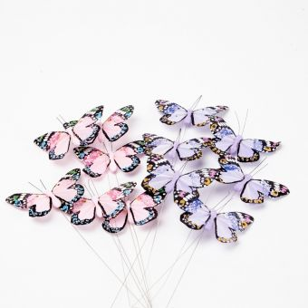Feather Butterfly on Wire - Purple/Lilac - 11cm (Pack of 12)