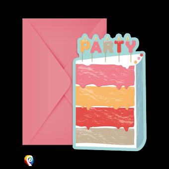 Birthday Cake Party Invitations