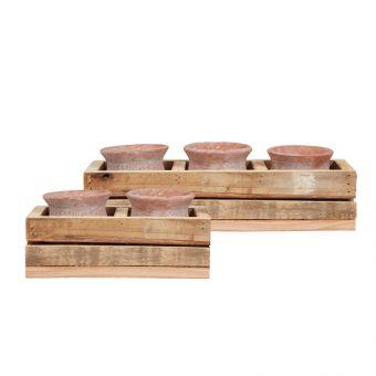 Aztec Pots in Wooden Tray