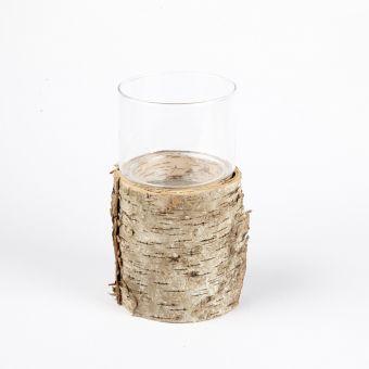 Birch Stand with Glass Hurricane