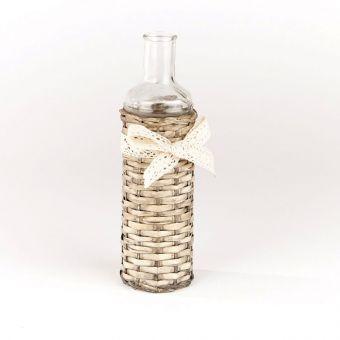 Glass Bottle in Wicker Cover