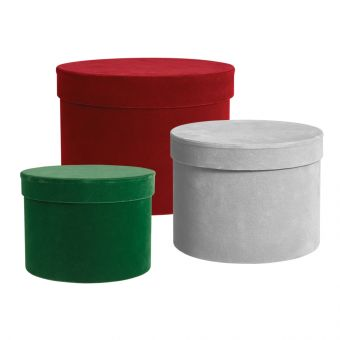 Round Lined Velour Hat Boxes (Set of 3)