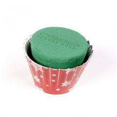 OASIS® Ideal Floral Foam Maxlife Cupcakes - Red with White Snowflakes - 8cm (Pack of 6)