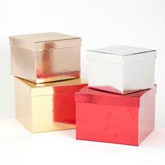 Round Sheen Hat Box Gold
