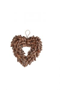 Iced Pine Heart Wreath - Natural - 33cm