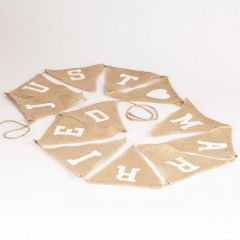 Just Married Burlap Bunting - 18 x 20cm