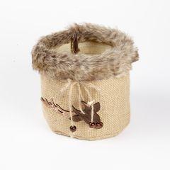 Fur Edge Round Bag with Reindeer Hanger - 12.5cm x 10cm