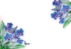 Blue Orchids with Butterflies Classic Plain Card