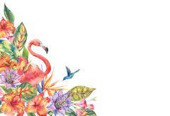 Pink Flamingo & Flowers Classic Plain Card
