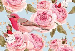 Vintage Flowers & Bird Folded Plain Card