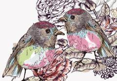 Vintage Birds Folded Plain Card