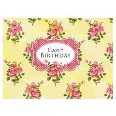 Happy Birthday - Rose Bunch Yellow Print