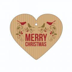Merry Christmas - Birds and Holly - Heart