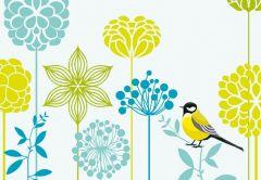 Modern Flower & Bird Folded Plain Card