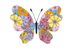 Floral Butterfly Folded Plain Card