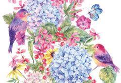 Flower & Bird Folded Plain Card