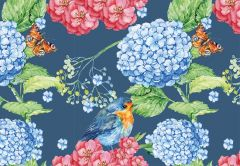 Hydrangeas, Bird & Butterflies Folded Plain Card