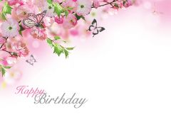 Happy Birthday - Butterflies & Blossom Classic Worded Card
