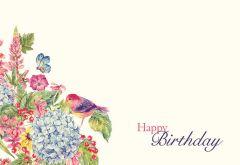 Happy Birthday - Vintage Flowers & Bird Classic Worded Card