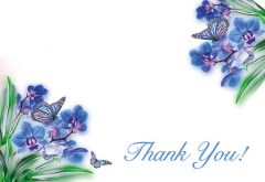 Thank You - Blue Orchid & Butterflies Classic Worded Card