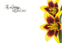In Loving Memory - Yellow Flower Remembrance Card