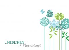 Cherished Memories - Modern Flowers Large Remembrance Card