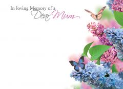 In Loving Memory of a Dear Mum - Flowers & Butterflies Large Remembrance Card