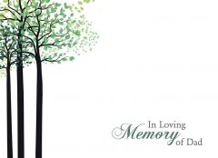 In Loving Memory of a Dad - Green Trees Large Remembrance Card