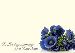 In Loving Memory of a Dear Nan - Blue Anemone Large Remembrance Card