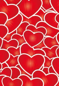 Happy Valentines Day, Red Hearts Folded Worded Card