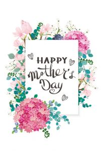 Happy Mothers Day - Pink  & Blue Flowers Folded Worded Card