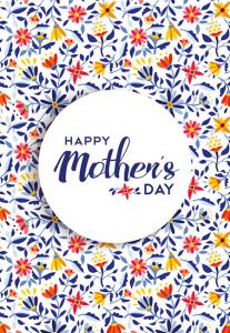 Happy Mothers Day - Blue Tiny Flowers Folded Worded Card