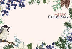 Merry Christmas - Bird & Fern Classic Worded Card
