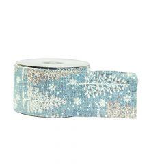 Tree & Snowflake Ribbon (Wired) - Blue/White - 10m