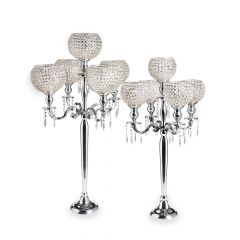 Casablanca Candelabra with 5 Globes & Acrylic Drops